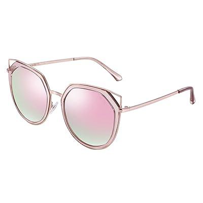 ANHPI Lunettes De Soleil Polarisées Femmes Rétro Grand Cadre En Métal Confort Visière UV Cat Eye Lunettes De Soleil Lunettes Colorées,Pink