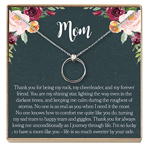 Dear Ava Mom Gift Necklace: Mother Daughter Jewelry, Thank You Mom, 2 Linked Circles (Silver-Plated-Brass, NA) (Circle Necklace Mom)