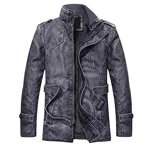 (YKARITIANNA Men's 2018 New Coat,Fashion Autumn Winter Novelty Faux Leather Standing Collar Long Slim Washed Jackets Coat)