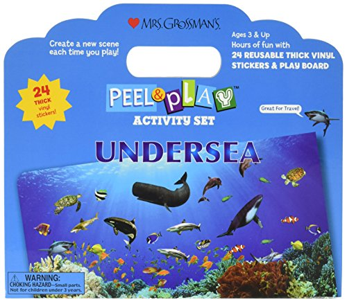 Reusable Peel (Mrs. Grossman's - Undersea - Peel and Play Kids Activity Set with Reusable Vinyl Stickers and Fold-Out Story Board - with Storage and Travel Handle - For Boys and Girls Ages 3 and Up)