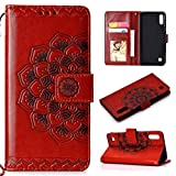 Cfrau Wallet Case with Black Stylus for Samsung Galaxy A10/M10,Retro 3D Henna Mandala Floral Embossed Magnetic Strap Flip PU Leather Card Slots Stand Soft Rubber Case for Samsung Galaxy A10/M10,Brown