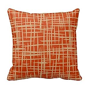 Cotton 16 X 16 Twin Sides Retro 50S Pattern Throw Pillowcases Terracotta