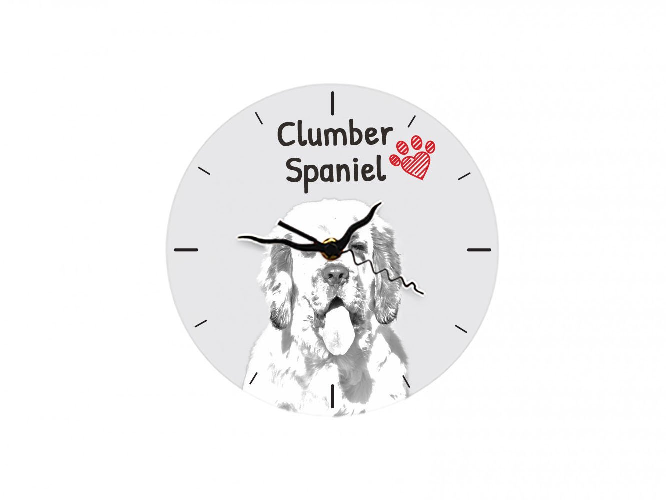 Clumber Spaniel, freestanding MDF Floor Clock with an Image of a Dog 1