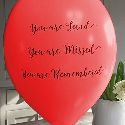 ANGEL & DOVE 25 Red 'You are Loved, Missed, Remembered' Biodegradable Funeral Remembrance Balloons - for Memory Table, Memorial, Condolence, Anniversary by