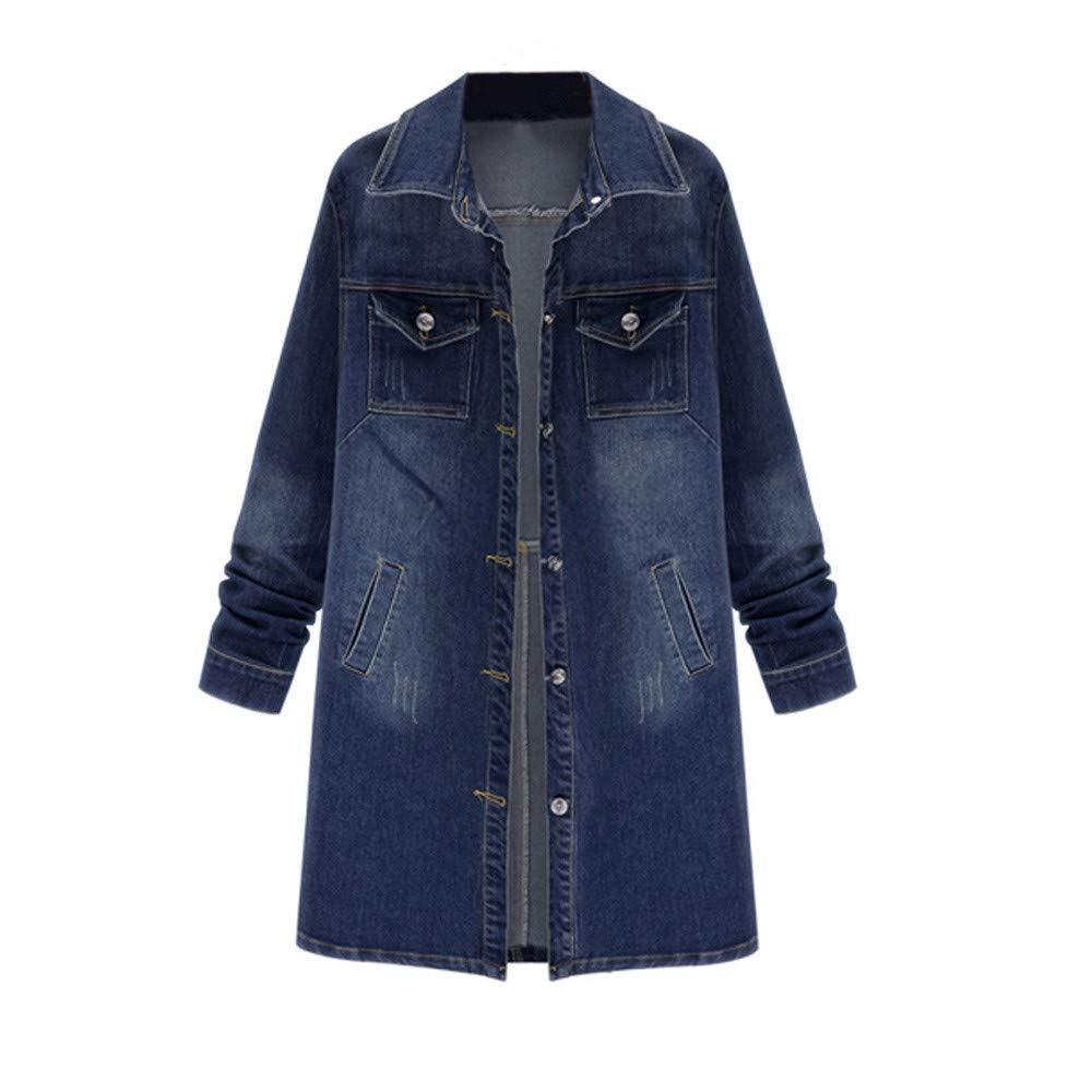 Plus Size Women Denim Jacket Outwear Long Sleeve Tops Jean Coat Overwear With Pockets Outcoat (3XL, Blue)