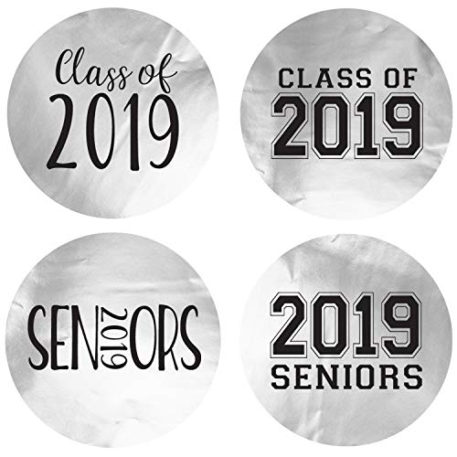 (Class of 2019 Metallic Foil Party Favor Circle Sticker Labels, 60 Count)