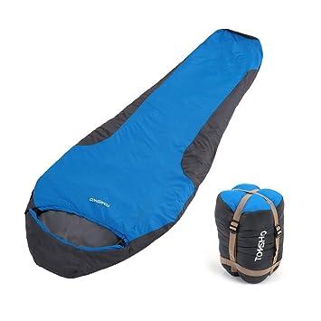 TOMSHOO Saco de Dormir Momia 212*70cm Ultraligero Una Persona para Camping Senderismo 5~15℃ con Bolsa de Almacenamiento: Amazon.es: Deportes y aire libre