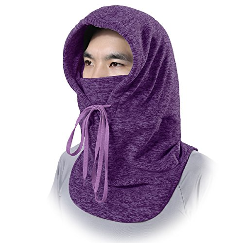 JIUSY Soft Fleece Neck Warmer Thermal Balaclava Hood Face Mask Windproof Dust Cover Protection for Ski Snowboard Snowmobile Outside Work Snowing Hunting Hiking Cold Weather Winter Men Women Purple -