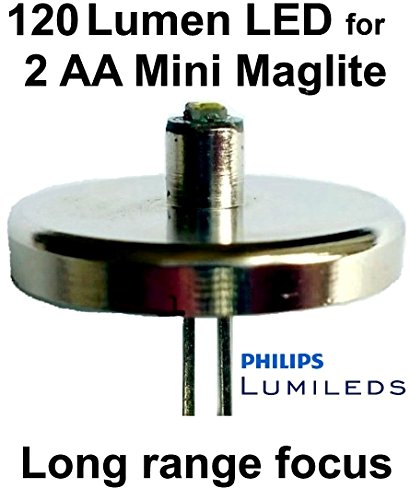 Mini Maglite AA Philips Lumileds LED Upgrade Bulb, Flashlight Conversion, 1 Watt UpLED ()