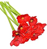 HI-BOOM 10 Pcs Fresh Artificial Flowers Pu Latex Poppies Artificial Mini Poppy Flowers for Wedding Bridal Bouquet Home Party Decor (Red)