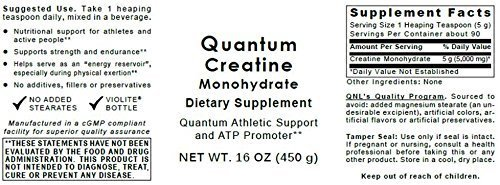 Quantum Creatine Monohydrate - Premier Research Creatine ATP Promoter, 64oz Powder