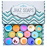 14 Bath Bombs by Jhaz Soaps: Bubble Bath, Lush Bath Experience, Bath Bombs for Kids, Non Staining, Relaxing and Moisturizing Ingredients, Made in the USA