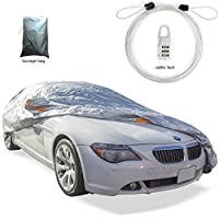 Car cover set polyester water/sun proof fits sedan's up to 200 inches long,-anti theft protection-windbreak belts-left door zipper-reflector-mirror pockets-storage bag.