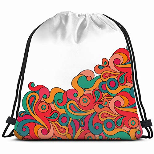 decorative element border invitation card psychedelic Drawstring Backpack Gym Sack Lightweight Bag Water Resistant Gym Backpack for Women&Men for Sports,Travelling,Hiking,Camping,Shopping Yoga