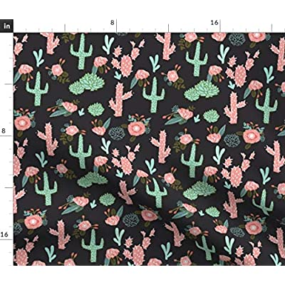 Spoonflower Fabric - Cactus Flowers Cute Girls Cacti Pink Mint Desert Rose Bohemian Floral Printed on Petal Signature Cotton Fabric by The Yard - Sewing Quilting Apparel Crafts Decor