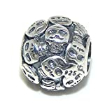 PJEWELRY 925 Solid Sterling Silver Barrel with Skeleton Faces Charm Bead