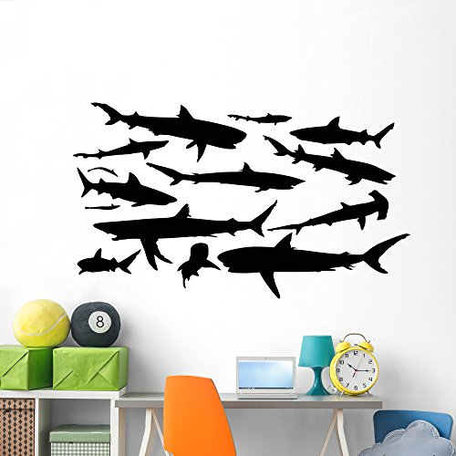 Wallmonkeys Massive Shark Silhouette Wall Decal Sticker Set Individual Peel and Stick Graphics on a (72 in W x 42 in H) Sticker Sheet WM407005