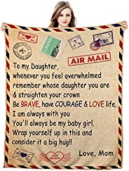 Blanket to My Daughter from Mom Letter Personalized Encourage Inspirational Fleece Throw Blankets Birthday Val
