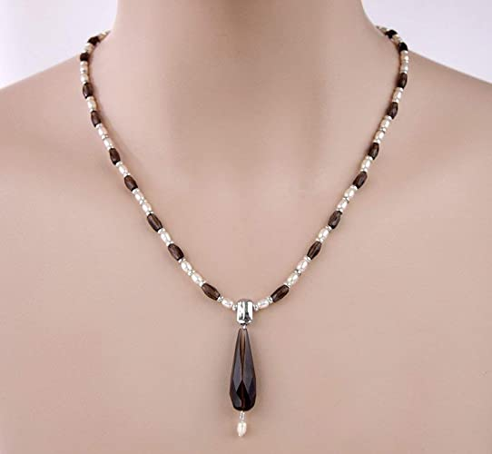 cc967ff417b82 Amazon.com: Brown Smokey Quartz Drop Pendant White Freshwater Rice ...