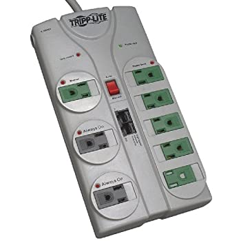 Tripp Lite 8 Outlet Eco-Surge Protector Power Strip, 8ft Cord Right Angle Plug, Tel/Ethernet, & $150K INSURANCE (TLP808NETG)