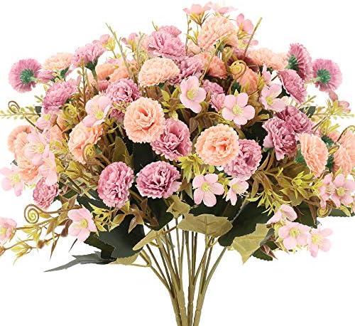 XHXSTORE 4Pz Fiori Finti Garofani Mazzi Fiori Artificiali per Decorazione Fiori di Seta Rossa Artificiale per Vaso Matrimonio Festa Casa Tavolo Balcone Autunno Decor (Pink)