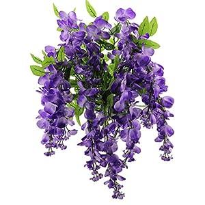 Artificial Wisteria Long Hanging Bush Flowers - 15 Stems For Home, Wedding, Restaurant and Office Decoration Arrangement, Lavender 5