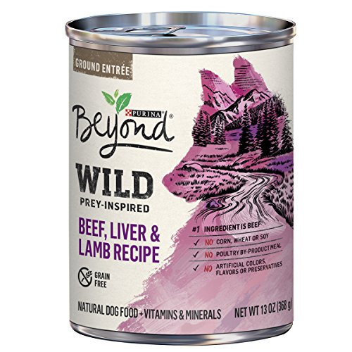 - Purina Beyond High Protein, Grain Free, Natural Pate Wet Dog Food; WILD Beef, Liver & Lamb Recipe - 13 oz. Can
