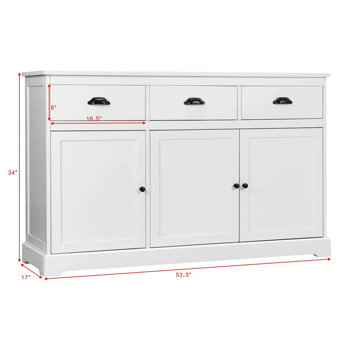 Giantex Sideboard Buffet Server Storage Cabinet Console Table Home Kitchen Dining Room Furniture Entryway Cupboard with 2 Cabinets and 3 Drawers Adjustable Shelves, White (White) by Giantex (Image #8)
