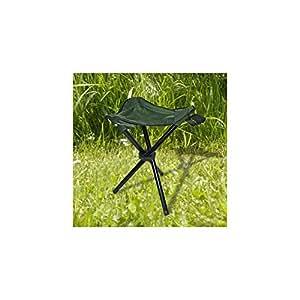 Taburete plegable ideal acampada y pesca, 3 patas, poliéster verde