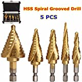 DRILLPRO 5 pcs HSS Spiral Grooved Multiple Hole 50 Sizes Step Drill Bit Set with Aluminum Case