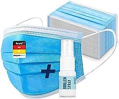 50 x Einmal Mundschutz inkl. Brillenspray – Einweg Mundbedeckung, Staubschutz aus Vlies (Versand aus DE)