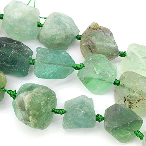 Natural Rough Green Fluorite 20-25mm Nuggets Gemstone Jewelry Making Beads