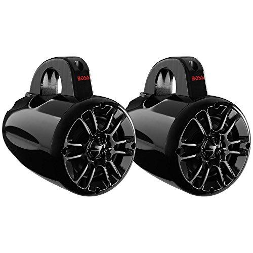 BOSS Audio MRWT40 400 Watt (Per Pair), 4 Inch, Full Range, 2 Way, Weatherproof, Marine Grade Roll Cage/Waketower Speaker System (Sold in Pairs) (Two Way Full Range Speaker)