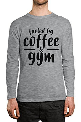 Price comparison product image Fueled By Coffee & Gym Men's Long Sleeve Shirt,  SpiritForged Apparel,  Light Gray Large