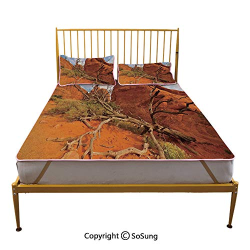 National Parks Home Decor Creative Full Size Summer Cool Mat,Rock on Grand Canyon Monument Valley Heart of Nature Utah Photo Sleeping & Play Cool Mat,Orange ()