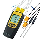 Thermocouple Thermometer K/J Type 4 Probes Selectable Degree C/Degree F Backlight Temperature Meter Tester