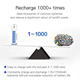 USB Rechargeable Batteries 1.5V/1500mAh Lithium Ion AA Battery with 4-in-1 Micro USB Charging Cable 1.5h Quick-Charge Built-in Integrated Safety Circuit Protection Double A Batteries