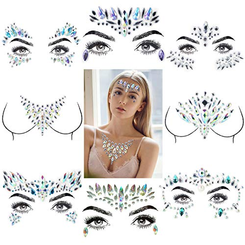 Eurobuy 8 Sets Mermaid Face Gems Glitter,Rhinestone Rave Festival Face,Jewels Gems Chest Sticker,Eyes Face Body Stickers,Bindi Crystal Rhinestone Face Tattoos for Face/Body Decorations (Pattern Set 2)