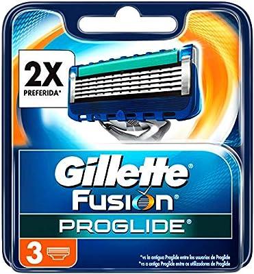 Gillette Fusion ProGlide - Pack de 3 recambios de maquinilla de afeitar para hombre: Amazon.es: Salud y cuidado personal