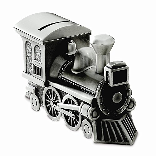 (Goldia Pewter Finish Train Bank - Engravable Personalized Gift Item )