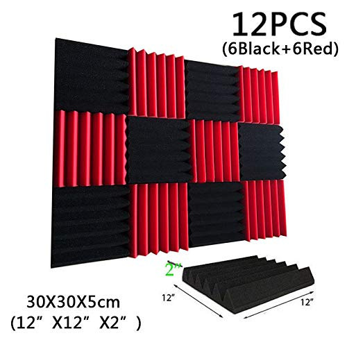 FidgetGear 12 Pack Wedge RED/CHARCOAL Acoustic Soundproofing Studio Foam Tiles 2 x 12 x 12 from FidgetGear