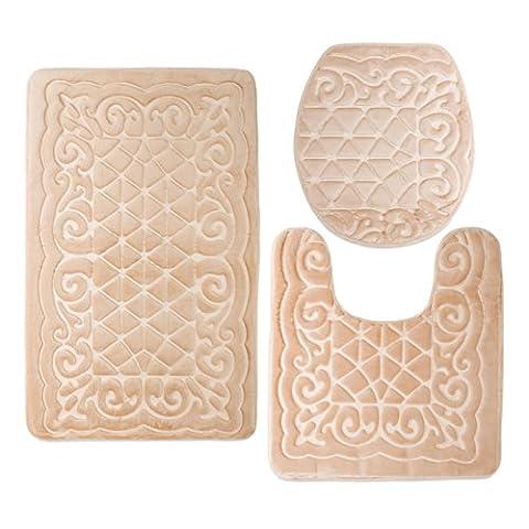 Elvoki 3 Piece Bathroom Rug Mat Set Memory Foam and Contour Rug Sets (19
