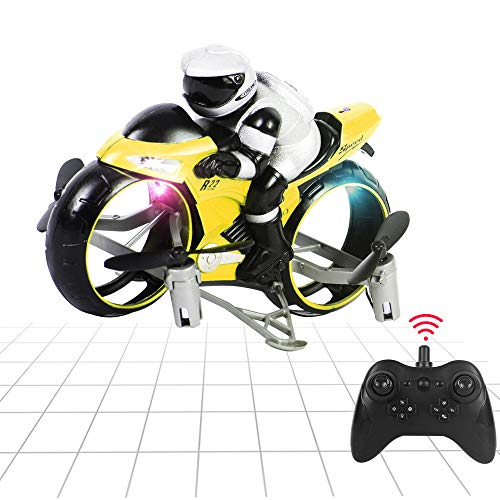 Aveloki Flying Motorcycle RC Drone, Land and Air Dual Mode Headless Remote Control Four-Axis Drone, Fly Gift for Children, Boys and Girls