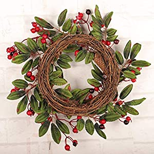 16 Inch European Flower Door Wreath Handmade Artificial Floral Garland with Red Berry Pine Cone for Front Door Display Wedding Farmhouse Home Wall Christmas Decoration 2