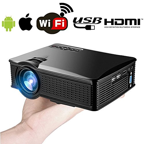 Wireless Wifi iPhone Android Mobile Mini Projector 1500 Lumen- Support 1080P Full HD WiFi Airplay Miracast- Portable LED Home Theater Movie Video Game- HDMI USB SD VGA Built-in Speaker