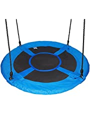 "Gaorui 100cm 40"" Tree Swing Spinner Kids Swing Seat Saucer Nest Swing Round Ring Large Tire Swing – 200 KG Weight Capacity, Fully Assembled, Easy to Install Blue"