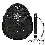Lion Rampant & Celtic Design Black Leather Sporran with S/Chain Kilt