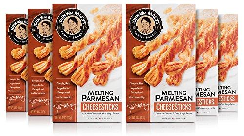 Parmesan Cheese Straws - John Wm. Macy's CheeseSticks, Melting Parmesan, 4 Ounce Box, Pack of 6
