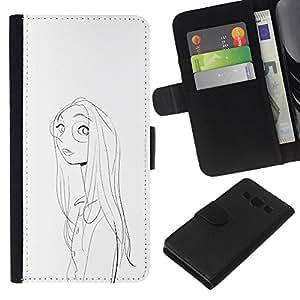 A-type (Retrato de la muchacha de la cara Gafas Dibujo al lápiz) Colorida Impresión Funda Cuero Monedero Caja Bolsa Cubierta Caja Piel Card Slots Para Samsung Galaxy A3