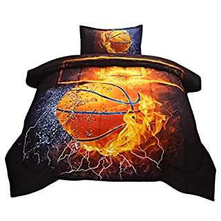 JQinHome Twin Basketball and Fire Comforter Sets Blanket, 3D Sports Themed Bedding, All-Season Reversible Quilted Duvet, for Children Boy Girl Teen Kids - Includes 1 Comforter, 1 Pillow Sham